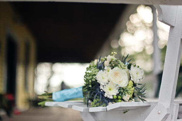 white, green and blue wedding bouquet