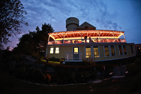 fifth maine regiment museum wedding reception lit up at night