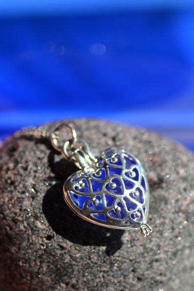 blue sea glass heart locket