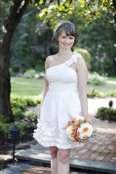 Short contemporary wedding dress