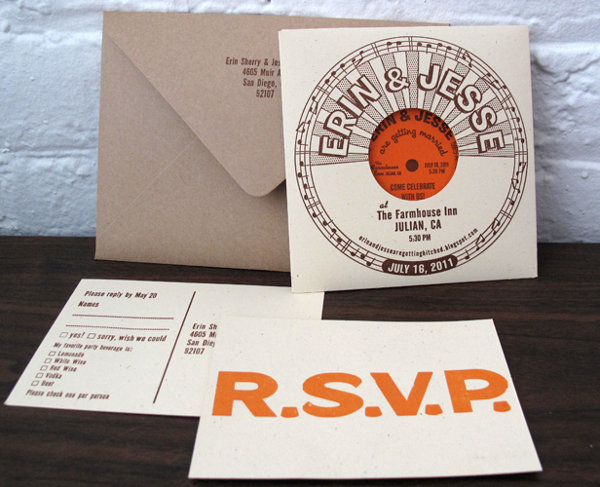 vintage style record sleeve invitation suite
