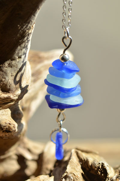 stacked blue sea glass