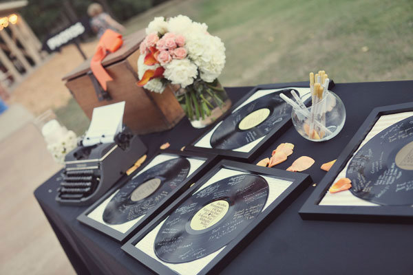 vinyl album wedding guest book