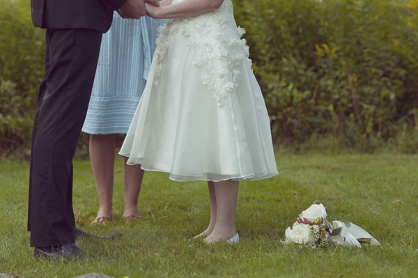 bride and groom's feet during ceremony