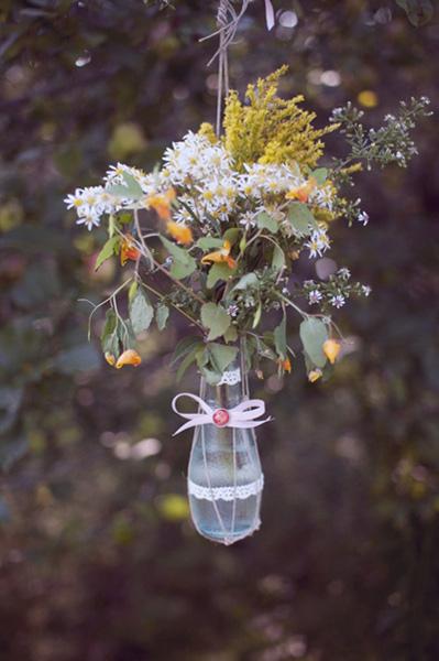 rustic hanging flower arrangement