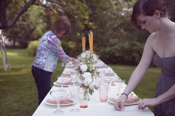 outdoor farmhouse wedding reception table