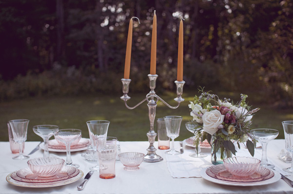 outdoor wedding table with silver candelabra