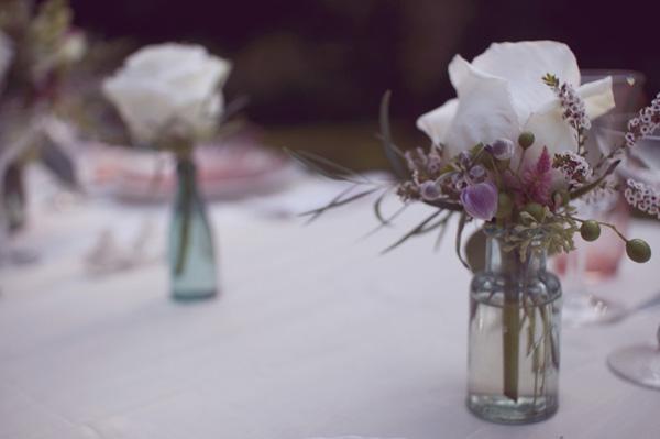rustic rose farmhouse wedding centerpiece