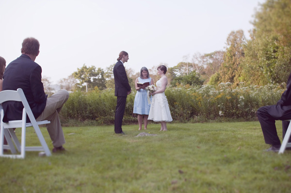 outdoor farmhouse wedding ceremony