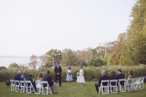 outdoor wedding ceremony by the lake