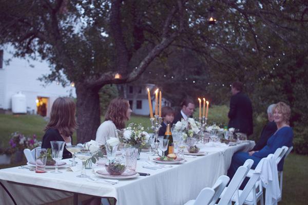 outdoor farmhouse wedding reception