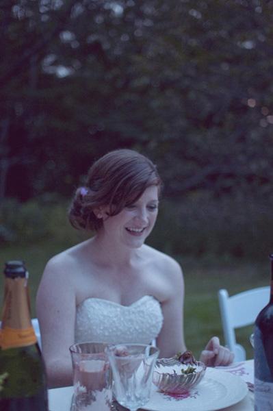 bride at outdoor dinner