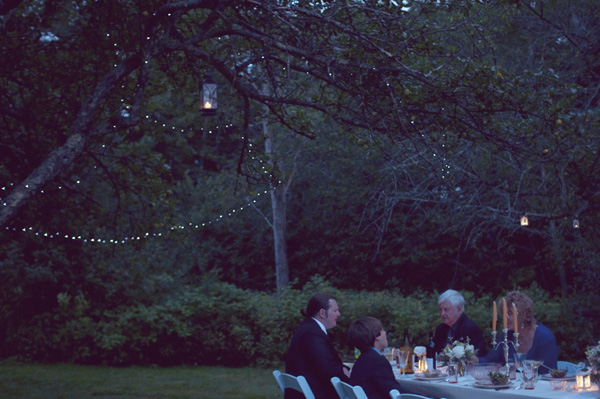 outdoor wedding reception with twinkle lights