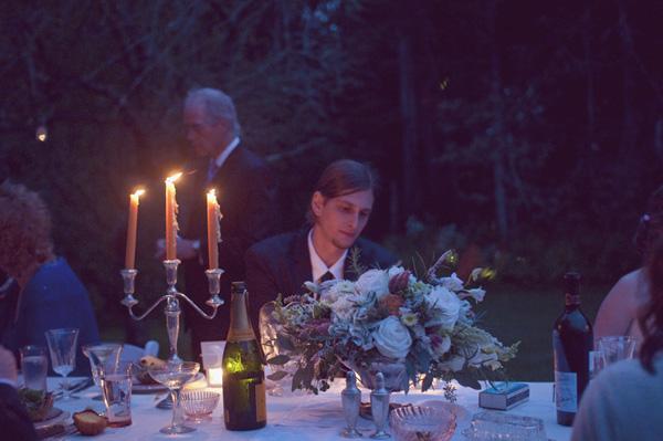 outdoor farmhouse wedding table with candelabra
