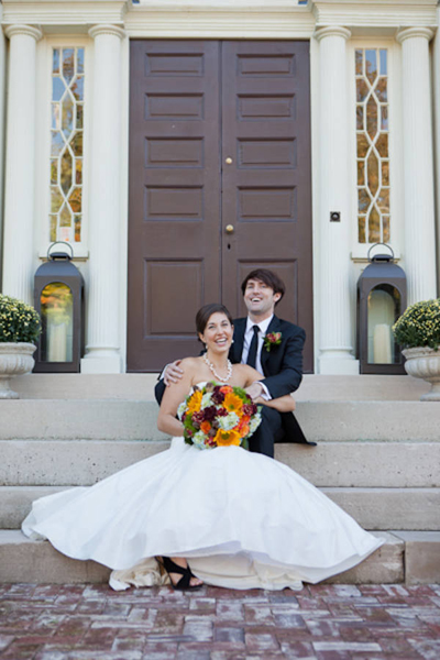 bride and groom portrait on stone steps