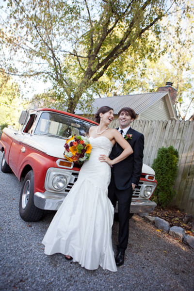 bride and groom with vintage pick-up truck