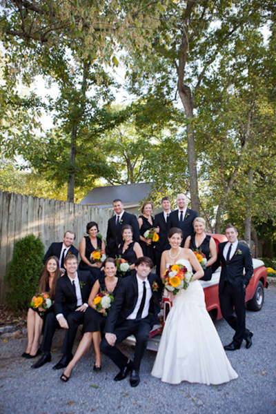 bridal party portrait with vintage pick-up truck