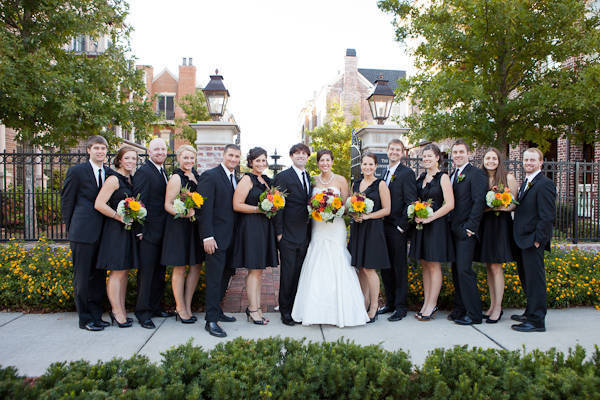 bridal party portrait in front of brownstones