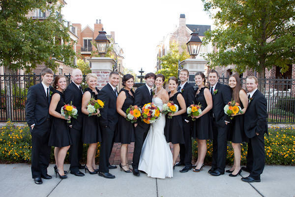 bridal party wearing black