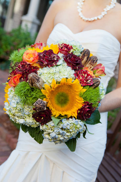 sunflower and mixed flower bridal bouquet
