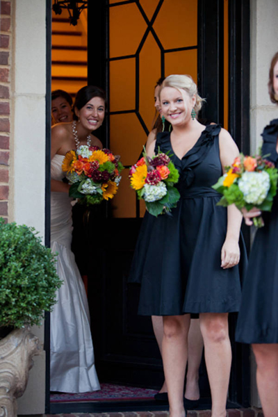 bridesmaid in black dress