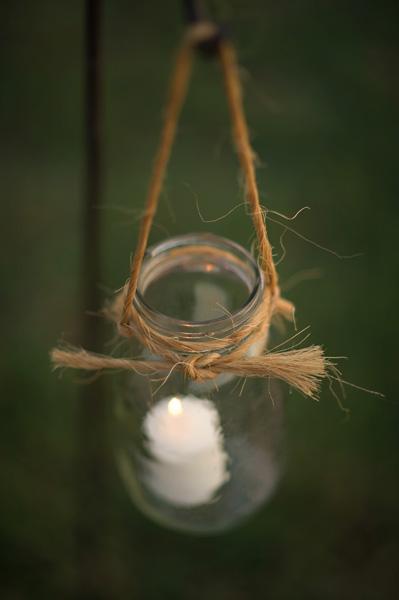 hanging mason jar candleholder