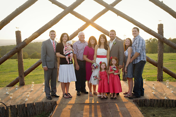 family wedding portrait at sunset