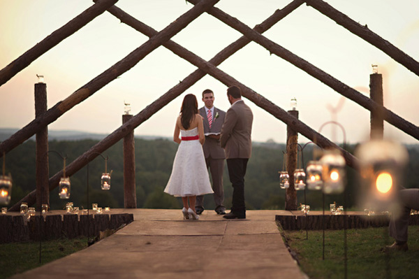 Arkansas ranch wedding leanne rameys intimate wedding rustic outdoor wedding ceremony at dusk junglespirit Image collections