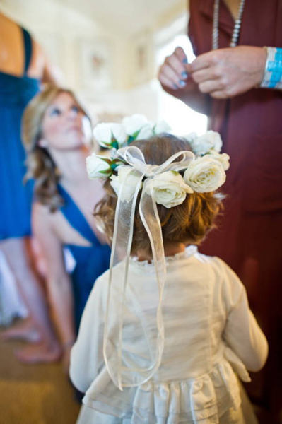 flower girl wearing rose crown