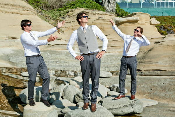 groomsmen portrait on the rocks