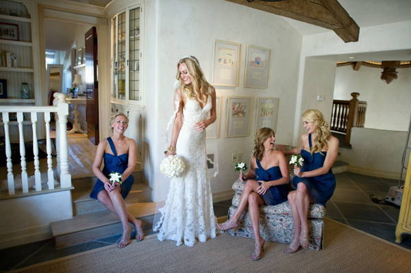 portrait of bride with her bridesmaids