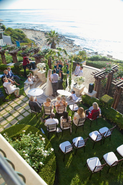 view of outdoor La Jolla wedding ceremony from above