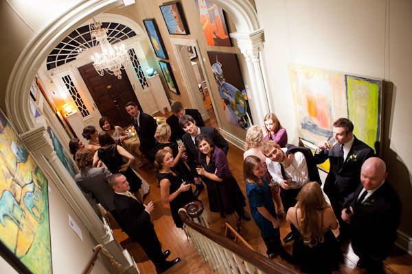 guests at art gallery wedding reception