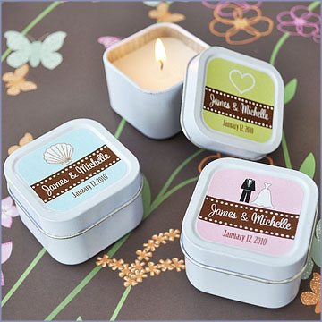 square tin candle favors