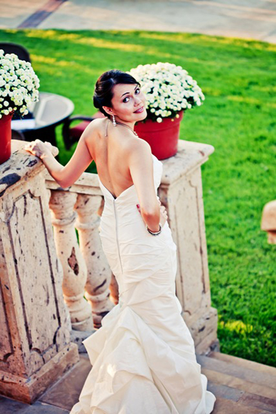 ruched mermaid wedding gown
