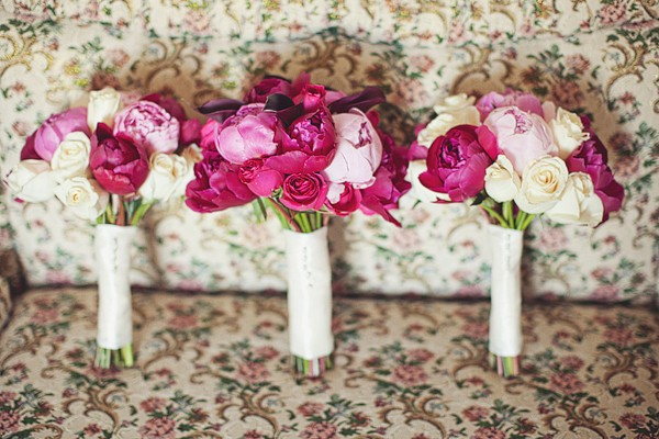 pink peony and white rose wedding bouquets