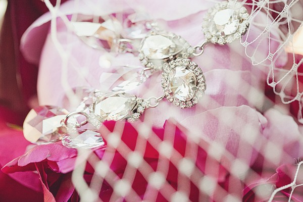 bridal accessories on pink peony