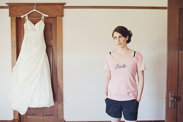 bride in pink 'bride' shirt