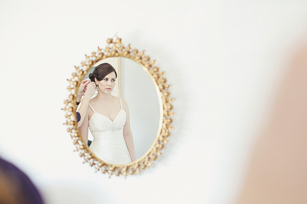 bride in antique gold mirror