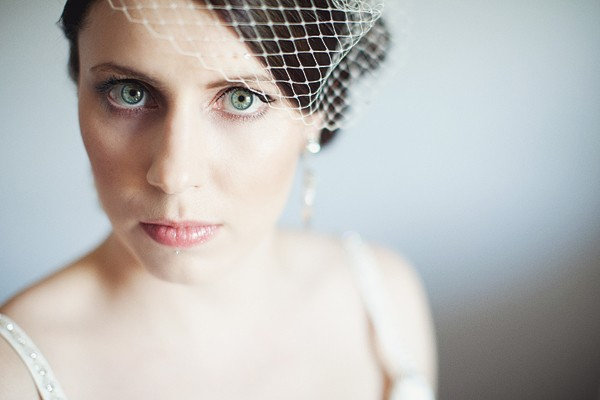 bride on birdcage veil