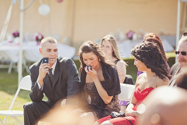 wedding guests at outdoor ceremony