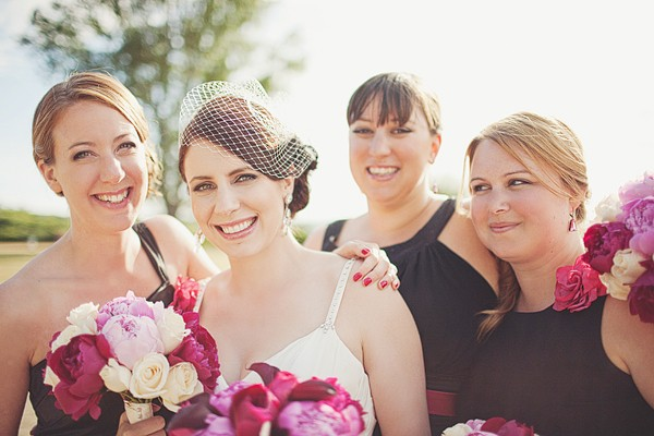 bride portrait with her bridesmaids