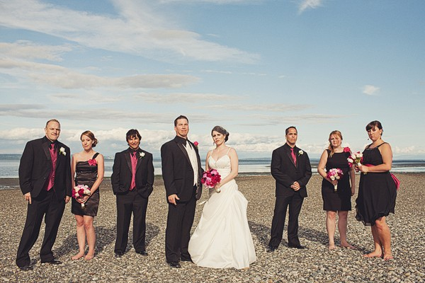 bridal party portrait on the beach in B.C.