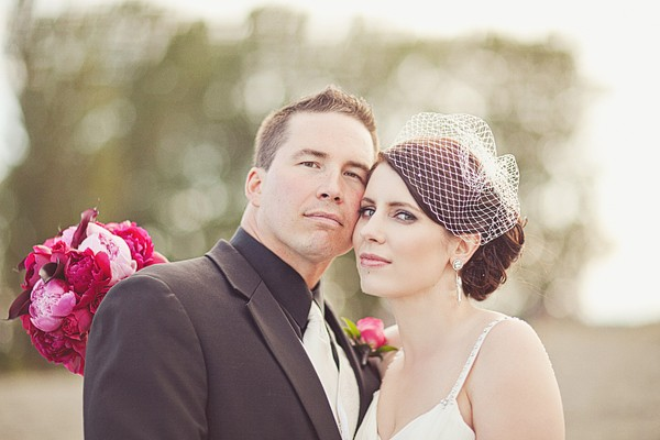 bride and groom portrait in the park