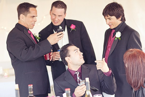 groomsmen at wedding reception