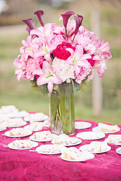 pink lily wedding centerpiece