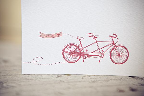 red tandem bicycle wedding invitation