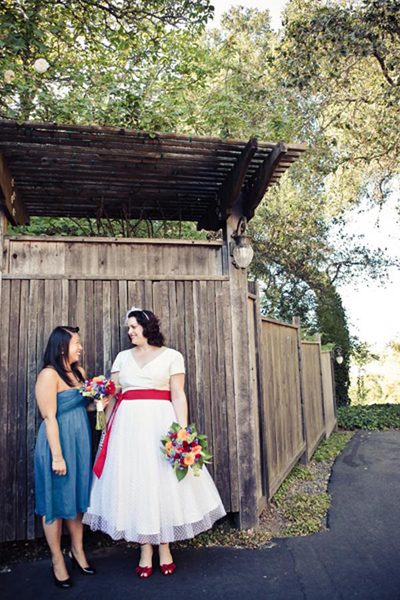 bride and bridesmaid portrait
