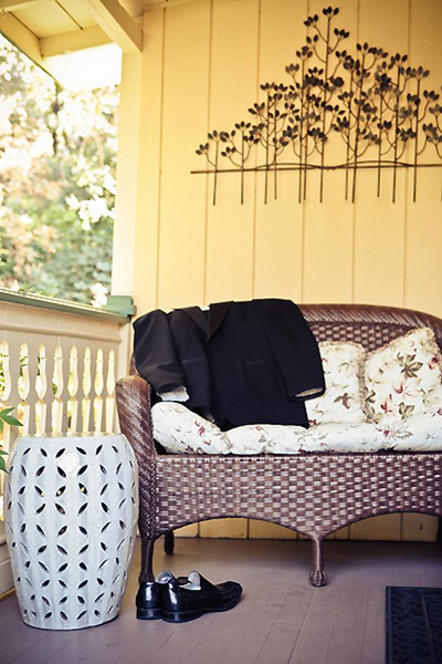 groom's suit on porch