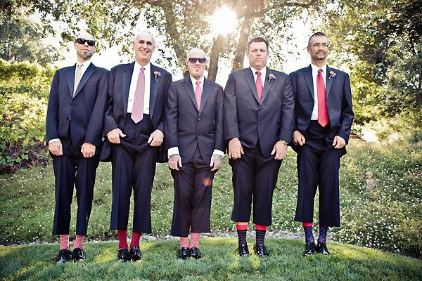 groomsmen wearing striped socks